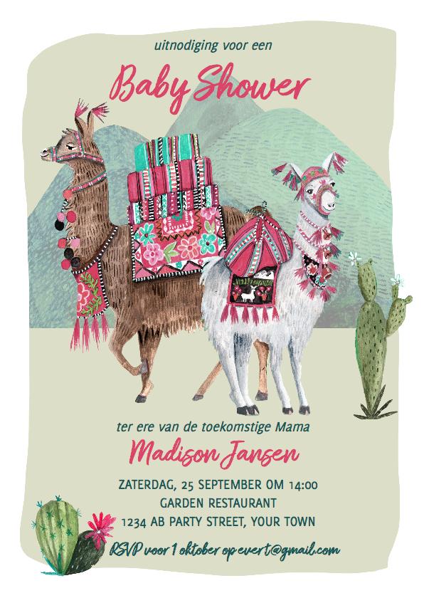 babyshower uitnodiging lama