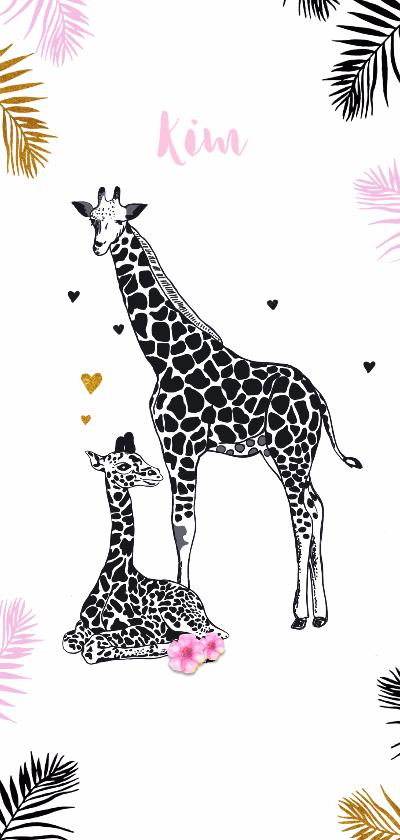 dieren geboortekaartje giraffe meisje