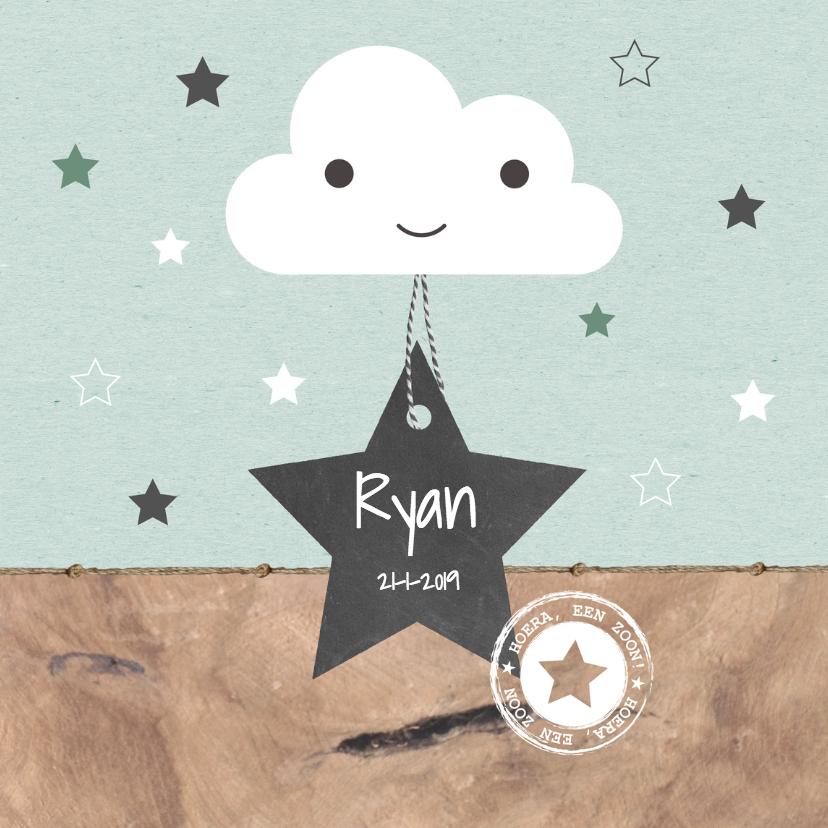 geboortekaartje houtlook wolkje