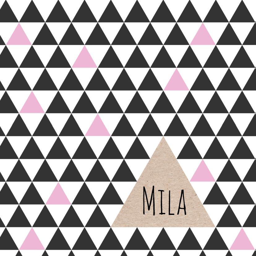 minimalistisch geboortekaartje driehoek meisje