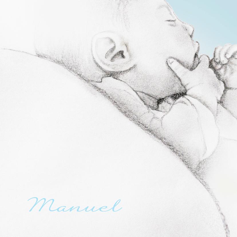 klassiek geboortekaart getekend baby'tje