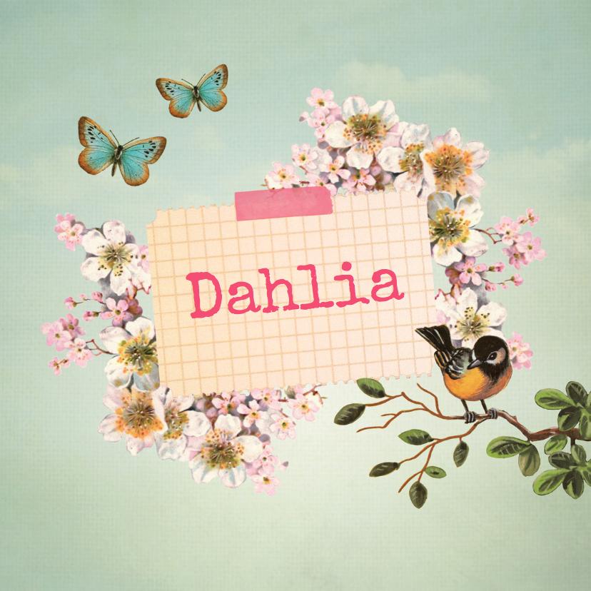 geboortekaartje scrapbook meisje bloemen vlinders