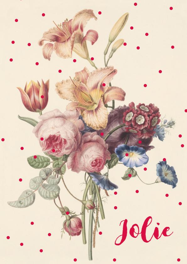 geboortekaartje vintage bloemen
