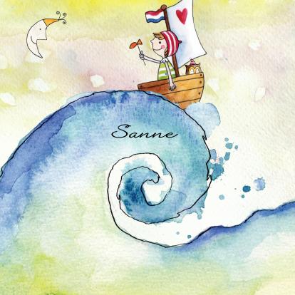 getekend-geboortekaartje-zee-bootje