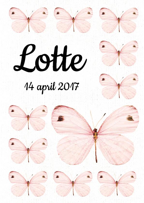 studio onszelf lief geboortekaartje met roze vlinders