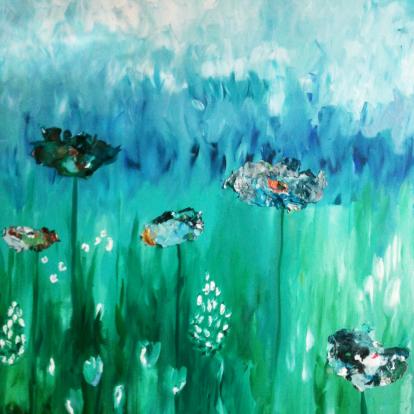 schilderij-wilde-bloemen-groen-blauw