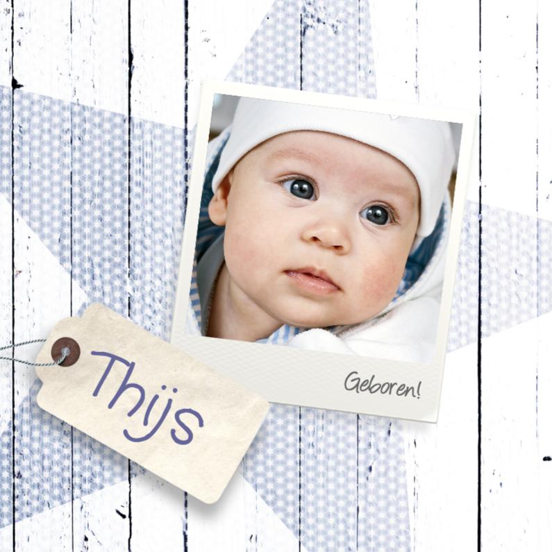 geboortekaartje houtlook foto jongen