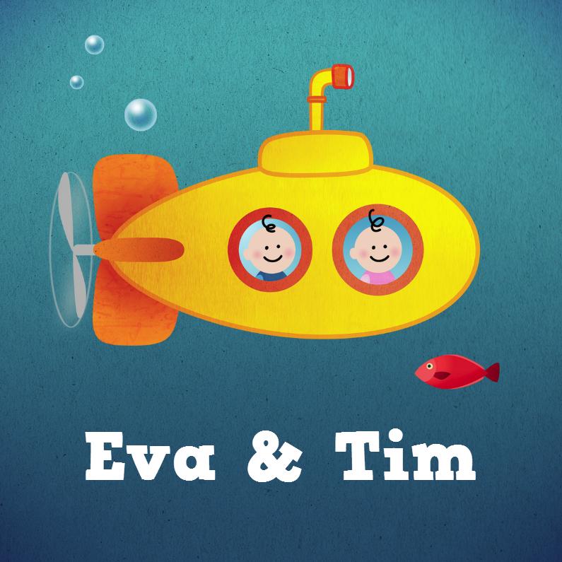 tweeling geboortekaartje onderzeeër