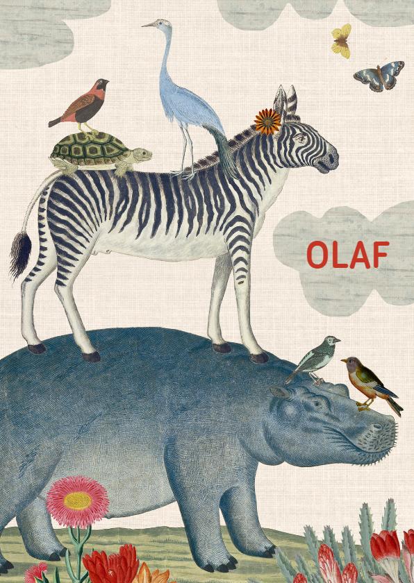 vintage geboortekaartje dieren