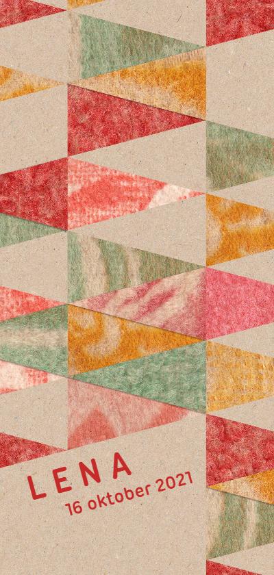 vintage vrolijke geboortekaart met driehoeken